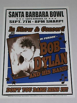 BOB DYLAN & his Band at the SANTA BARBARA BOWL CALIFORNIA CONCERT POSTER