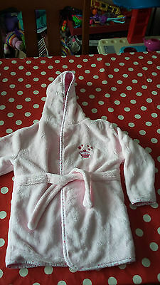 Girls Pink Cupcake Dressing Gown Bath Robe with Hood age 18 - 24 months