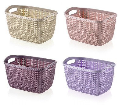3.5L KNITTED Knit Woven Rattan Small Plastic Storage Baskets Boxes Containers