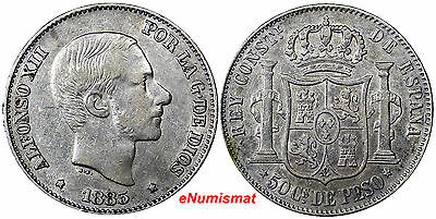 Philippines Silver 1885 50 Centimos aXF Condition Light Toning KM# 150 (7126)
