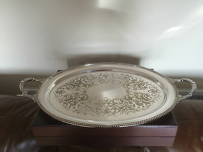 """Two Handled Silver Plated Oval Shaped Chased Tray 21.5"""" X 13"""" (Spt.59462)"""
