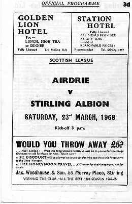 Stirling Albion v Airdrie league programme 23 March 1968