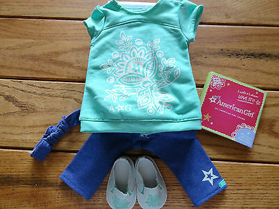 American Girl Myag Tropical Bloom  Outfit + Charm New In Box  Retired