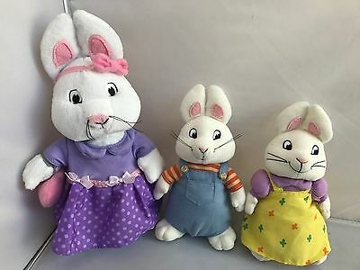 "TY Beanie 7"" Max and Ruby & larger Ruby 3 plush bunny Rabbits Excellent Cond."
