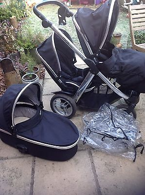 Babystyle Oyster Max 2  Black Travel System Double Seat Stroller And Carrycot