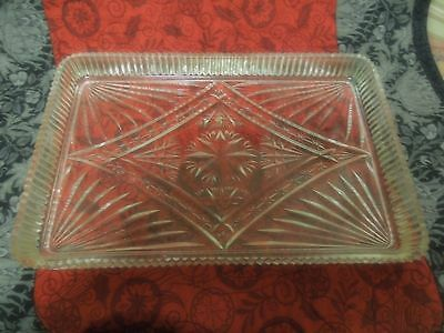 Glass Tray.  Vanity/Dressing Table.  Vintage. Clear Pressed Glass.