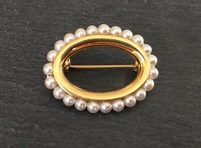 Vintage Napier Faux Pearl Gold Tone Costume Jewellery Pin Brooch
