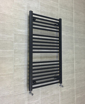 500mm Wide 1000mm High Small Straight Black Heated Towel Rail Radiator Bathroom