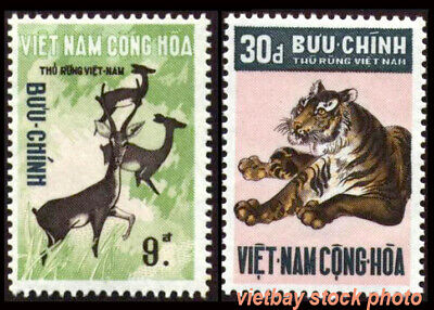 SOUTH VIETNAM 1971 Wild Animals: Deer, Tiger 396-397 Thú Rừng MNH