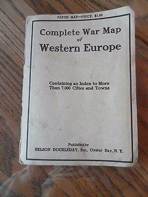 Antique 1917 COMPLETE WAR MAP OF WESTERN EUROPE INDEX OF 7,000 CITIES NICE COND.