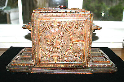 Antique  Carved Black Forest Tobacco Box ~ Humidor ~ Pipe Stand  ORNATE