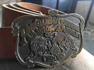 Ringling Bros Barnum & Bailey Circus Brass Belt Buckle Vintage
