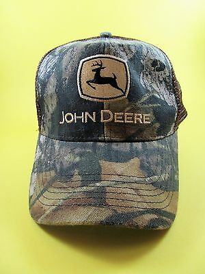 JOHN DEERE Green Camo hat Snap Back Cotton Poly ONE SIZE Cary Francis Camouflage