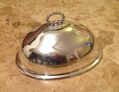 Vintage Large Silver Plate Meat Food Dome Cloche Cover