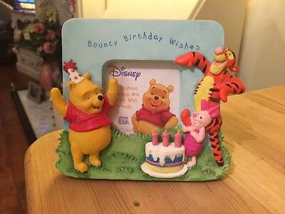Disney Collectible Winnie The Pooh & Friends Bouncy Birthday Wishes Frame 2001