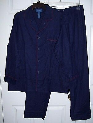 NWOT Towmcraft Men Pajamas L 100% Cotton Flannel Button Up Long Sleeve Dark Blue
