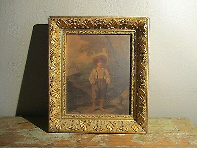 Antique Deep Aesthetic 19thC Lemon Gesso Gilt Picture Frame with Litho