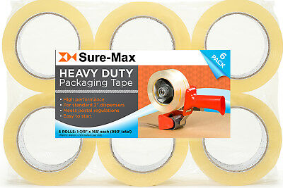 "6 Rolls Clear Box Sealing Packing Tape Shipping - 2.6 mil 2"" x 55 Yards (165')"