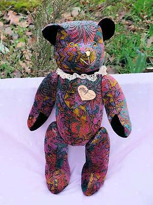 Vintage Multi Coloured Clown Bear German With Tags, Fully Jointed