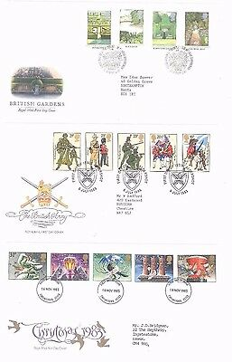 FDC (6) CHRISTMAS BRITISH ARMY BRITISH GARDENS BRITISH RIVER FISHES etC-1983