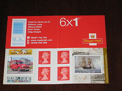 2013 PM40 Royal Mail Transport by Land and Sea Cylinder Booklet 6 x 1st CYLINDER