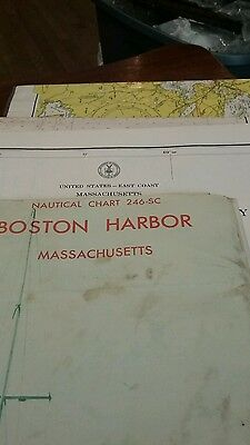 4 Nautical Maps Of Boston Harbor Chatham Harbor And Pleasent Bay  Barnstable