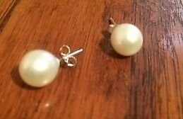 large freshwater pearl & sterling silver earrings pierced stud style
