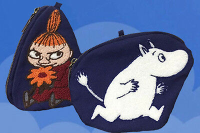 """Moomin Vally """"Little My"""" + """"Moomintroll""""  Embroidered  Cosmetic Phone Purse"""