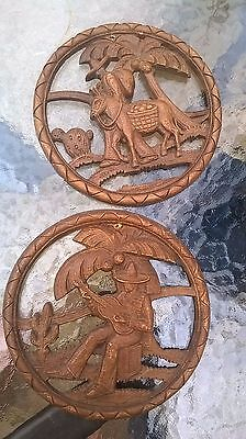 Mexican Coconut  Shell Art  Hangings Hand Carved From Mexico