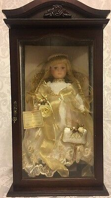 Collectors Choice 1999 Bisque Porcelain Angel Doll In Wooden Glass Case