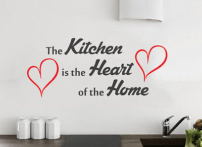 Kitchen Heart Of The Home Wall Quote Vinyl Sticker Decal Decor Love Art Mural