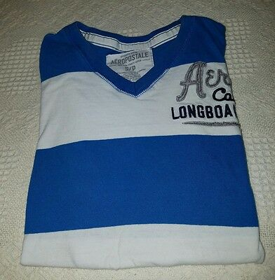 Young men's Aeropostale t-shirt, small, blue and white striped, short sleeves
