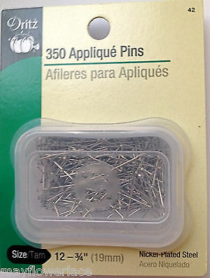 """350 Appliqué Pins 3/4"""" Nickel Plated Steel for Milanese Tape bobbin lace"""