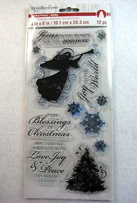 Clear Cling Christmas Angel Snowflakes and Tree Words by Recollections Stamps