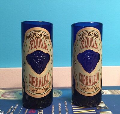 Set of 2 Brand New Corralejo Reposado Tequila Cobalt Blue Tall Shot Glasses Bar