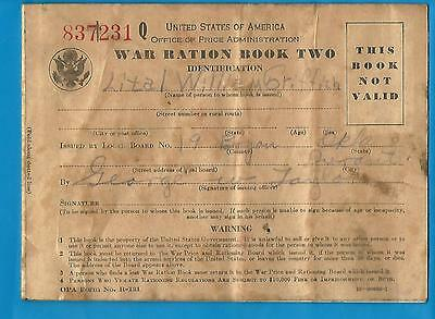 War Ration Book Two Six Pages Stamps