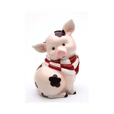 Bank Coin Country Piggy Bank Pudgy Cute Baby Pig, Red Check Bandanna & Mud Spots