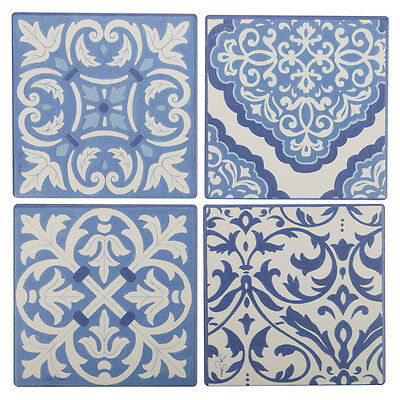 NEW Thirstystone Blue & White Scrollwork Coaster Set 4pce