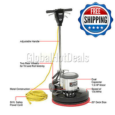"17"" Floor Machine 1.5 HP Buffer Polisher Scrubber Cleaner Floors Tile Carpet New"