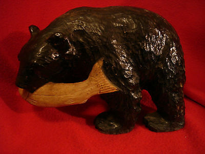 Large Handcarved Wooden Black Bear with Salmon Fish Figurine