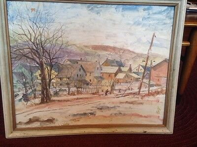 Vintage Cal Bange Painting  1 Of The Seven Lively Artist PA