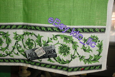 super VINTAGE unused ~ PARISIAN PRINTS ~ green TONES ~ Linen KITCHEN Towel USA