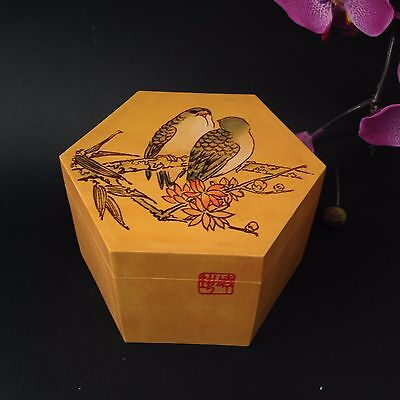 Chinese Hexagonal Lidded Wood Box - Finches - Pyrography, Hand Painted, Signed