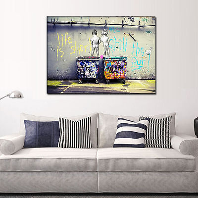 Unframed Print Picture On Canvas Wall Art Painting Abstract Multicolor Two-boys