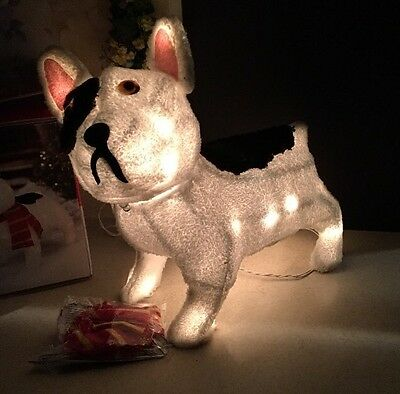 """18"""" Outdoor Lighted Bull Dog Sculpture Christmas Yard Decor In Box"""