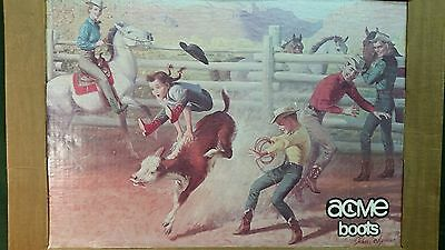 Vintage Cowboy Boots Western 1950s Acme Framed Poster Display Store Display Rare