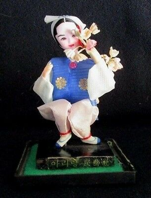 """Vintage Chinese Asian Oriental Doll Figurine Carrying Wooden Basket 5.25"""""""