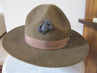 WWI USMC Wool  Campaign Hat with Insignia Pin