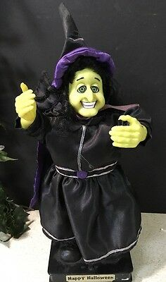 Animated GEMMY Brand Halloween Witch with Sound & Motions Green