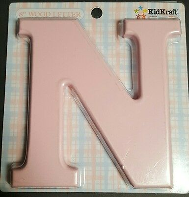 "Wooden ""N"" Letter Hanging Initials Color: PINK"